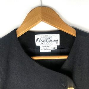 Oleg Cassini Jackets & Coats - VTG Oleg Cassini Black Long Blazer w/ Gold Buttons